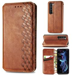 Ultra Slim Fashion Business Card Magnetic Automatic Suction Leather Flip Cover for Sharp AQUOS R5G - Brown