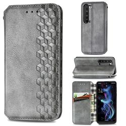 Ultra Slim Fashion Business Card Magnetic Automatic Suction Leather Flip Cover for Sharp AQUOS R5G - Grey