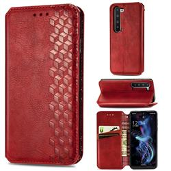 Ultra Slim Fashion Business Card Magnetic Automatic Suction Leather Flip Cover for Sharp AQUOS R5G - Red