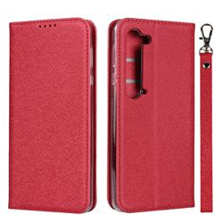 Ultra Slim Magnetic Automatic Suction Silk Lanyard Leather Flip Cover for Sharp AQUOS R5G - Red