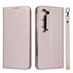 Ultra Slim Magnetic Automatic Suction Silk Lanyard Leather Flip Cover for Sharp AQUOS R5G - Rose Gold