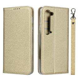 Ultra Slim Magnetic Automatic Suction Silk Lanyard Leather Flip Cover for Sharp AQUOS R5G - Golden