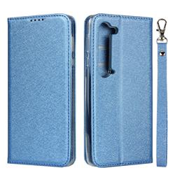 Ultra Slim Magnetic Automatic Suction Silk Lanyard Leather Flip Cover for Sharp AQUOS R5G - Sky Blue