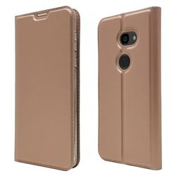 Ultra Slim Card Magnetic Automatic Suction Leather Wallet Case for Sharp Aquos Zero - Rose Gold