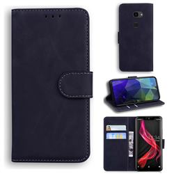 Retro Classic Skin Feel Leather Wallet Phone Case for Sharp Aquos Zero - Black