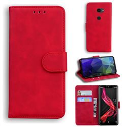 Retro Classic Skin Feel Leather Wallet Phone Case for Sharp Aquos Zero - Red