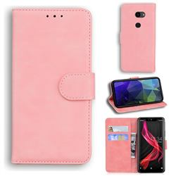 Retro Classic Skin Feel Leather Wallet Phone Case for Sharp Aquos Zero - Pink