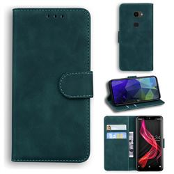 Retro Classic Skin Feel Leather Wallet Phone Case for Sharp Aquos Zero - Green