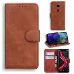 Retro Classic Skin Feel Leather Wallet Phone Case for Sharp Aquos Zero - Brown