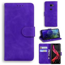 Retro Classic Skin Feel Leather Wallet Phone Case for Sharp Aquos Zero - Purple