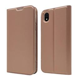 Ultra Slim Card Magnetic Automatic Suction Leather Wallet Case for Sharp AQUOS sense plus SH-M07 - Rose Gold