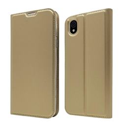Ultra Slim Card Magnetic Automatic Suction Leather Wallet Case for Sharp AQUOS sense plus SH-M07 - Champagne