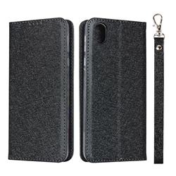Ultra Slim Magnetic Automatic Suction Silk Lanyard Leather Flip Cover for Sharp AQUOS sense plus SH-M07 - Black