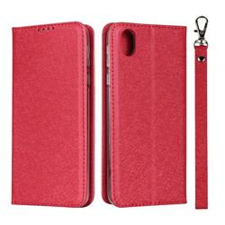 Ultra Slim Magnetic Automatic Suction Silk Lanyard Leather Flip Cover for Sharp AQUOS sense plus SH-M07 - Red