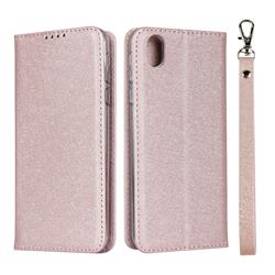 Ultra Slim Magnetic Automatic Suction Silk Lanyard Leather Flip Cover for Sharp AQUOS sense plus SH-M07 - Rose Gold