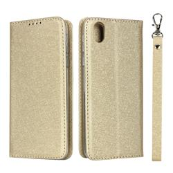 Ultra Slim Magnetic Automatic Suction Silk Lanyard Leather Flip Cover for Sharp AQUOS sense plus SH-M07 - Golden