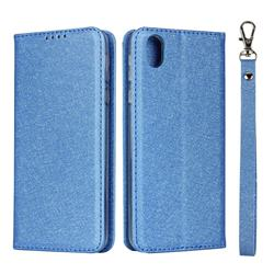 Ultra Slim Magnetic Automatic Suction Silk Lanyard Leather Flip Cover for Sharp AQUOS sense plus SH-M07 - Sky Blue