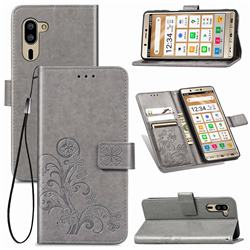 Embossing Imprint Four-Leaf Clover Leather Wallet Case for Sharp Simple Sumaho5 - Grey