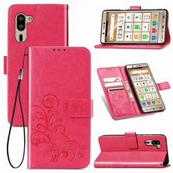 Embossing Imprint Four-Leaf Clover Leather Wallet Case for Sharp Simple Sumaho5 - Rose Red