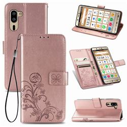 Embossing Imprint Four-Leaf Clover Leather Wallet Case for Sharp Simple Sumaho5 - Rose Gold