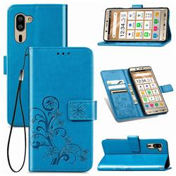 Embossing Imprint Four-Leaf Clover Leather Wallet Case for Sharp Simple Sumaho5 - Blue