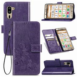 Embossing Imprint Four-Leaf Clover Leather Wallet Case for Sharp Simple Sumaho5 - Purple