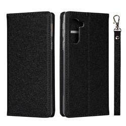 Ultra Slim Magnetic Automatic Suction Silk Lanyard Leather Flip Cover for Sharp Simple Sumaho5 - Black