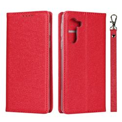 Ultra Slim Magnetic Automatic Suction Silk Lanyard Leather Flip Cover for Sharp Simple Sumaho5 - Red