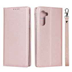 Ultra Slim Magnetic Automatic Suction Silk Lanyard Leather Flip Cover for Sharp Simple Sumaho5 - Rose Gold