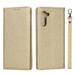 Ultra Slim Magnetic Automatic Suction Silk Lanyard Leather Flip Cover for Sharp Simple Sumaho5 - Golden