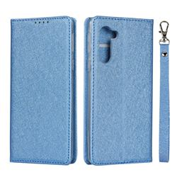 Ultra Slim Magnetic Automatic Suction Silk Lanyard Leather Flip Cover for Sharp Simple Sumaho5 - Sky Blue