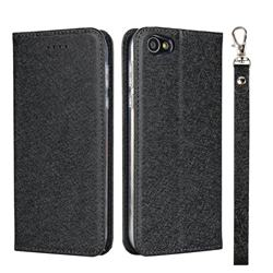 Ultra Slim Magnetic Automatic Suction Silk Lanyard Leather Flip Cover for Sharp Basio 2 SHV36 - Black