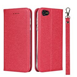 Ultra Slim Magnetic Automatic Suction Silk Lanyard Leather Flip Cover for Sharp Basio 2 SHV36 - Red