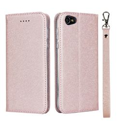 Ultra Slim Magnetic Automatic Suction Silk Lanyard Leather Flip Cover for Sharp Basio 2 SHV36 - Rose Gold