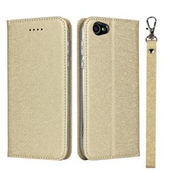 Ultra Slim Magnetic Automatic Suction Silk Lanyard Leather Flip Cover for Sharp Basio 2 SHV36 - Golden