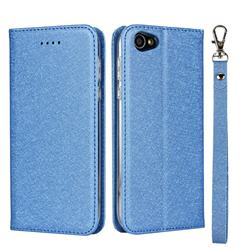 Ultra Slim Magnetic Automatic Suction Silk Lanyard Leather Flip Cover for Sharp Basio 2 SHV36 - Sky Blue