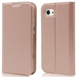 Ultra Slim Card Magnetic Automatic Suction Leather Wallet Case for Sharp AQUOS R Compact SHV41 - Rose Gold