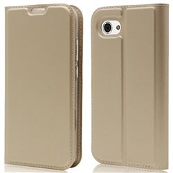 Ultra Slim Card Magnetic Automatic Suction Leather Wallet Case for Sharp AQUOS R Compact SHV41 - Champagne