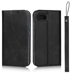 Calf Pattern Magnetic Automatic Suction Leather Wallet Case for Sharp AQUOS R Compact SHV41 - Black