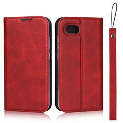 Calf Pattern Magnetic Automatic Suction Leather Wallet Case for Sharp AQUOS R Compact SHV41 - Red