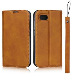 Calf Pattern Magnetic Automatic Suction Leather Wallet Case for Sharp AQUOS R Compact SHV41 - Brown