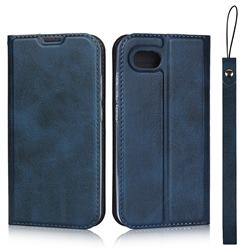 Calf Pattern Magnetic Automatic Suction Leather Wallet Case for Sharp AQUOS R Compact SHV41 - Blue