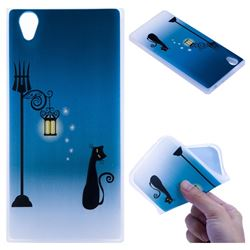 Street Light Cat 3D Relief Matte Soft TPU Back Cover for Sony Xperia L1 / Sony E6