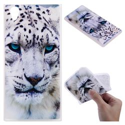 White Leopard 3D Relief Matte Soft TPU Back Cover for Sony Xperia L1 / Sony E6