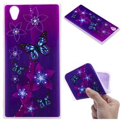 Butterfly Flowers 3D Relief Matte Soft TPU Back Cover for Sony Xperia L1 / Sony E6
