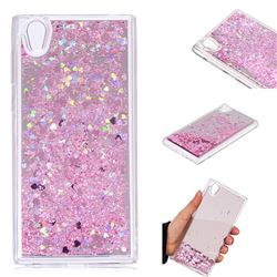 Glitter Sand Mirror Quicksand Dynamic Liquid Star TPU Case for Sony Xperia L1 / Sony E6 - Cherry Pink