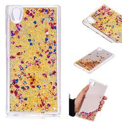 Glitter Sand Mirror Quicksand Dynamic Liquid Star TPU Case for Sony Xperia L1 / Sony E6 - Yellow