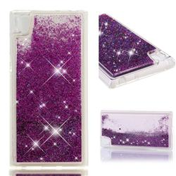 Dynamic Liquid Glitter Quicksand Sequins TPU Phone Case for Sony Xperia L1 / Sony E6 - Purple
