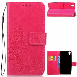 Embossing Imprint Four-Leaf Clover Leather Wallet Case for Sony Xperia L1 - Rose