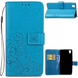 Embossing Imprint Four-Leaf Clover Leather Wallet Case for Sony Xperia L1 - Blue